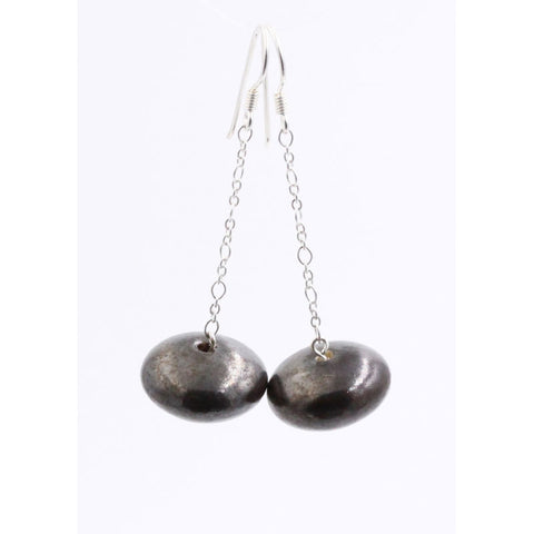 Cast Iron Toupie Silver Chain Drop Earrings - Zouf.biz
