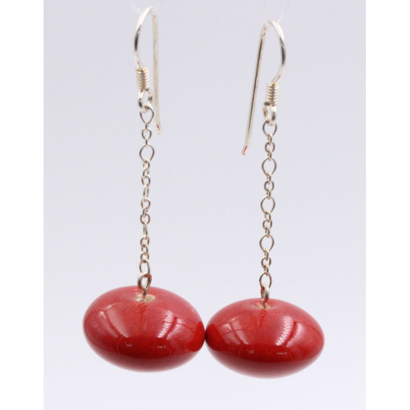 Cherry Toupie Silver Chain Drop Earrings - Zouf.biz