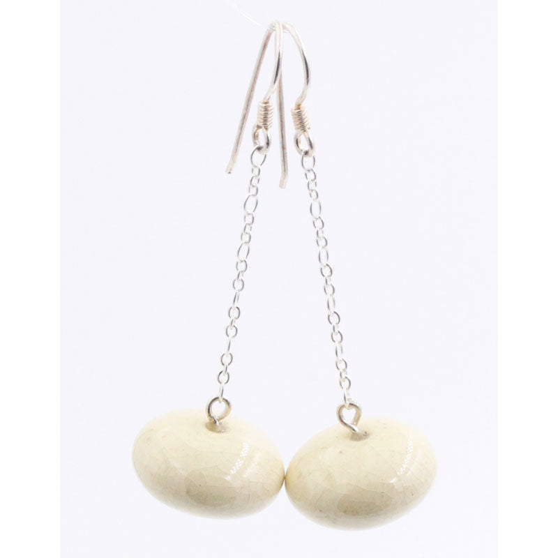 Ivory Toupie Silver Chain Drop Earrings - Zouf.biz
