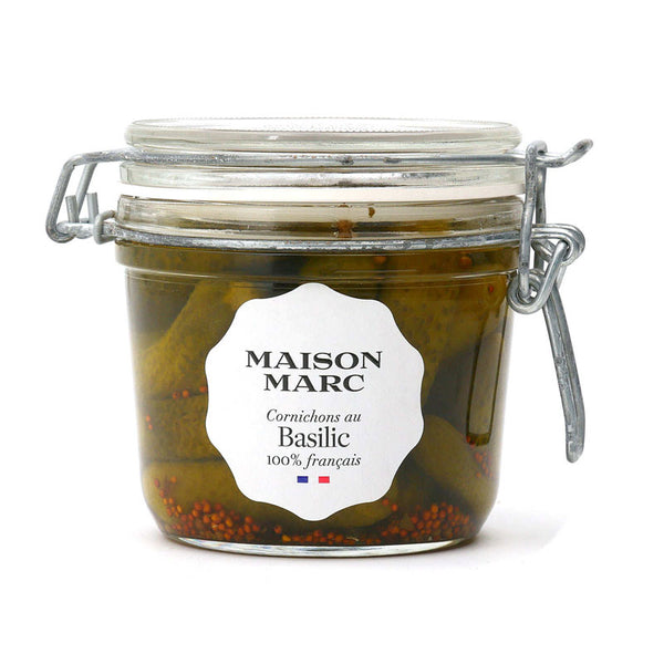 Pickled Gherkins (Cornichons) with Basil - 250g - Zouf.biz