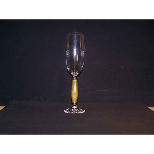 Crystal Champagne Flute on Guayacan Wood Base - Zouf.biz