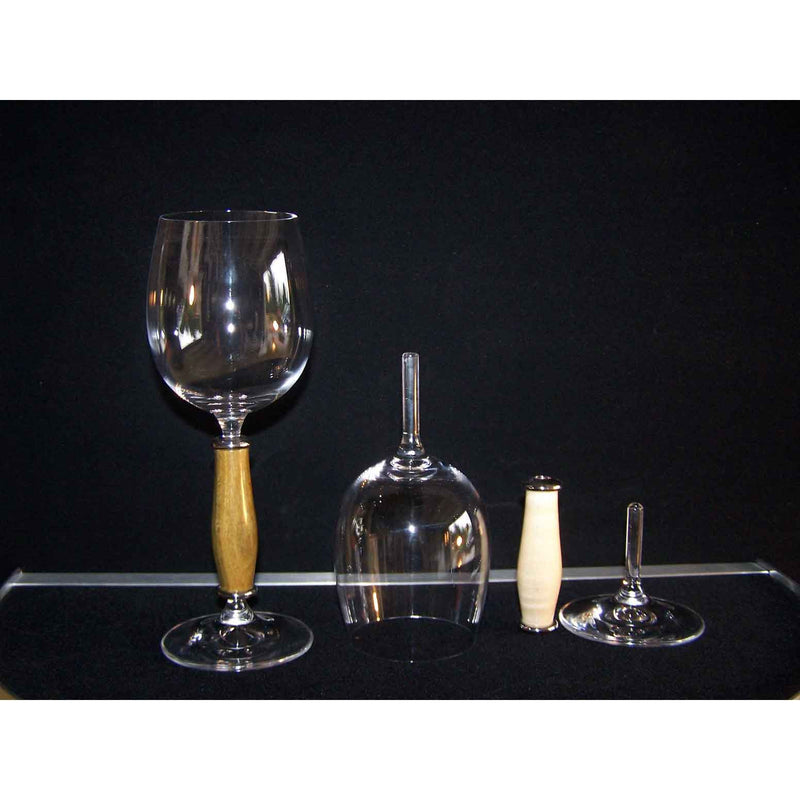 Crystal Champagne Flute on Yew Wood Base - Zouf.biz