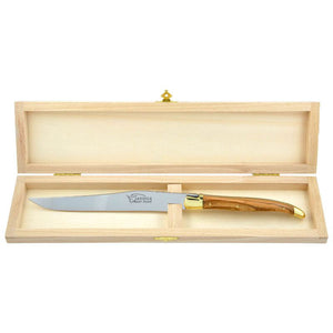 Laguiole Carving Knife Olive Wood, Prestige Collection Brass