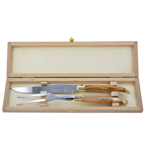 Laguiole Carving Set Olive Wood, Prestige Collection - Zouf.biz