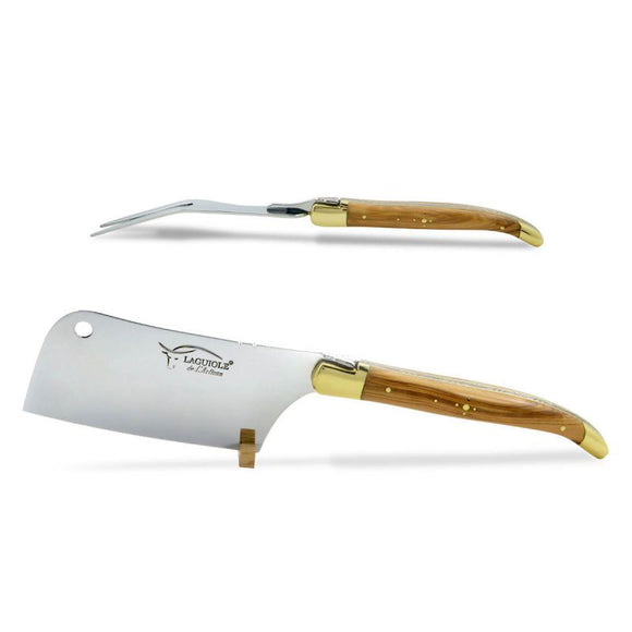 Laguiole Cheese Set, Fork & Cleaver, Olive Wood, Prestige Collection Brass