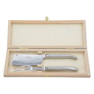 Laguiole Cheese Set, Fork & Cleaver, Stainless Steel Shiny