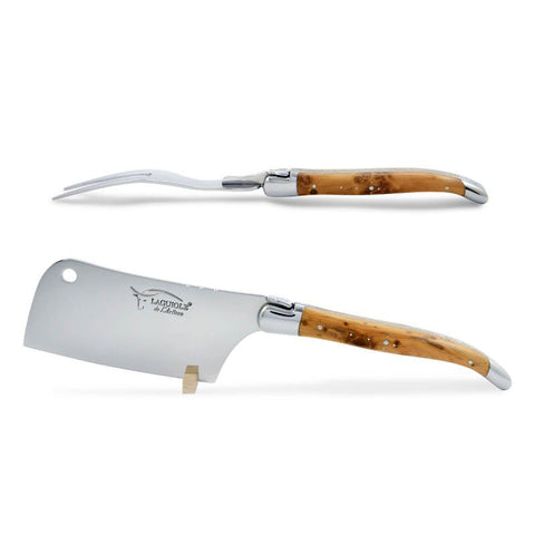 Laguiole Cheese Set, Fork & Cleaver, Juniper Wood, Prestige Collection