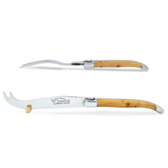 Laguiole Cheese Set, Fork & Knife, Juniper Wood, Prestige Collection