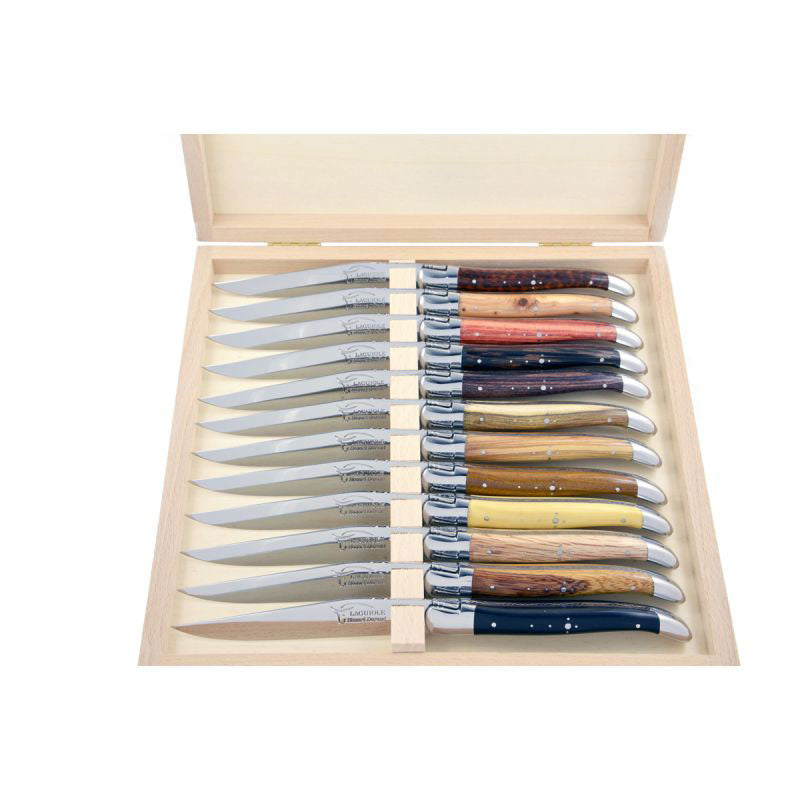 Laguiole Steak Knives Mix Wood, Prestige Collection - Zouf.biz
