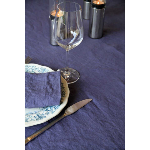 Washed Pure Linen Blue Napkin, Set of 2 - Zouf.biz