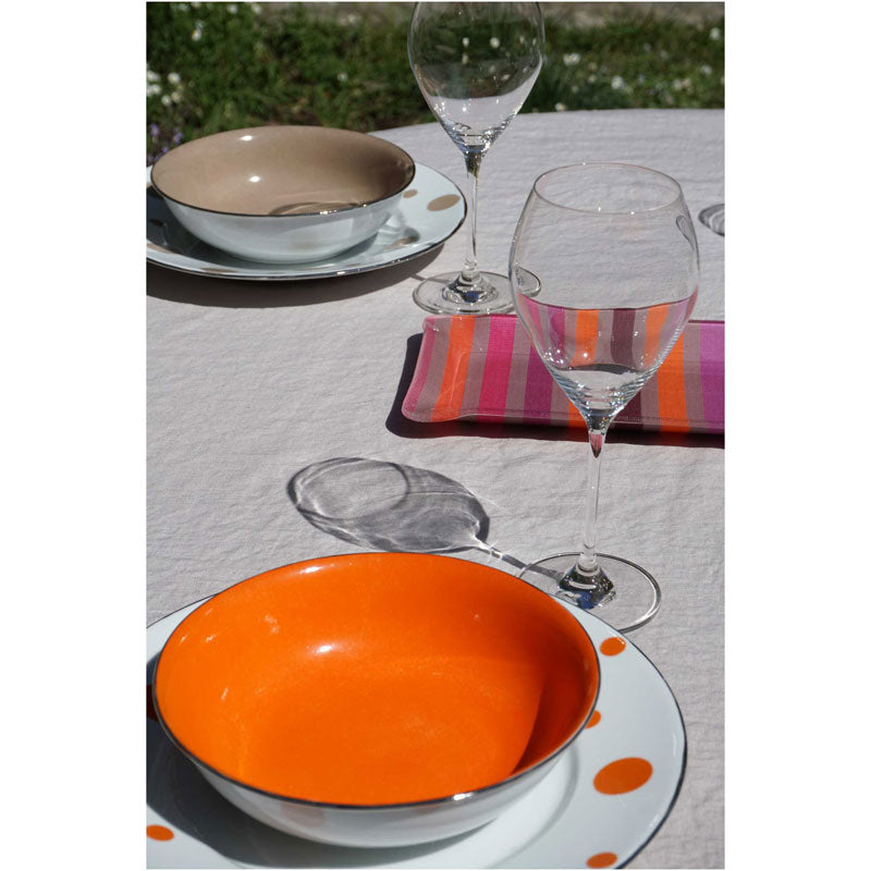 Set Washed Pure Linen Sable Tablecloth 170X300 + 12 Napkins - Zouf.biz