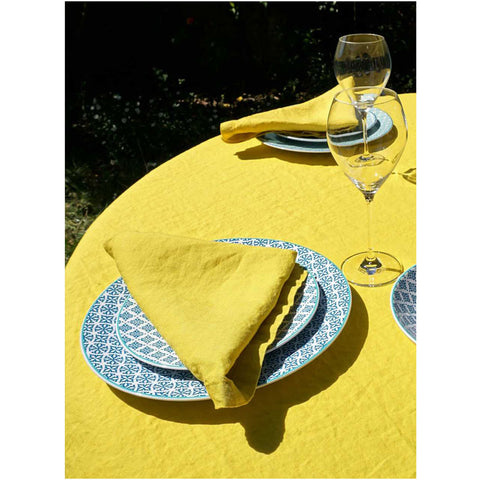 Washed Pure Linen Yellow Napkin, Set of 2