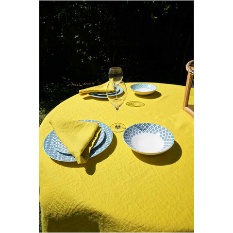 Washed Pure Linen Yellow Tablecloth - Zouf.biz