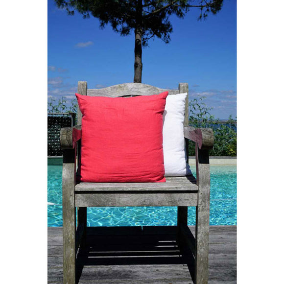 Raspberry 100% Linen Cushion Cover made in France