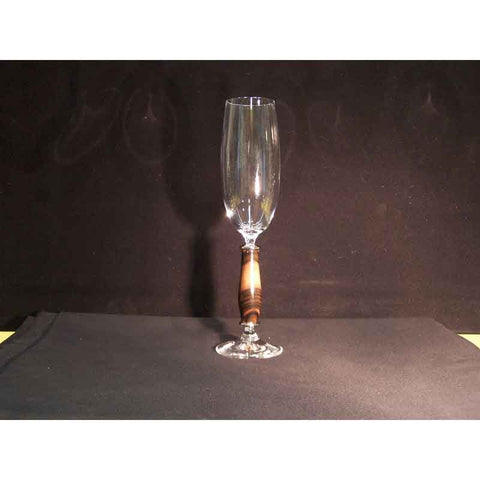 Crystal Champagne Flute on Macassar Ebony Wood Base - Zouf.biz