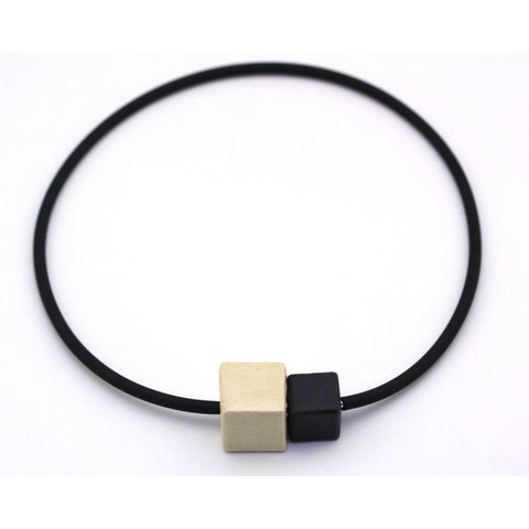 Ivory & Black Cubic Ceramic Necklace - Zouf.biz