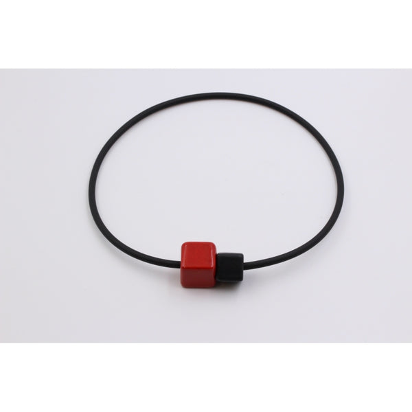 Cherry & Black Cubic Ceramic Necklace - Zouf.biz
