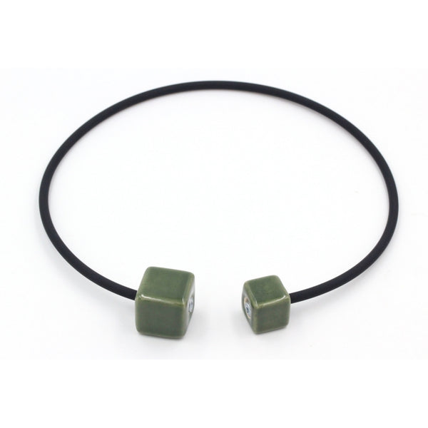 Khaki Cubic Ceramic Necklace - Zouf.biz