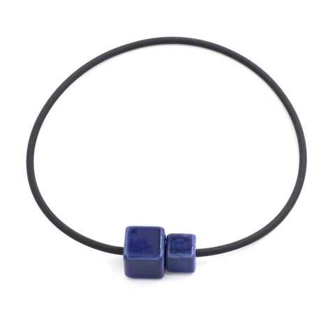 Midnight Blue Cubic Ceramic Necklace