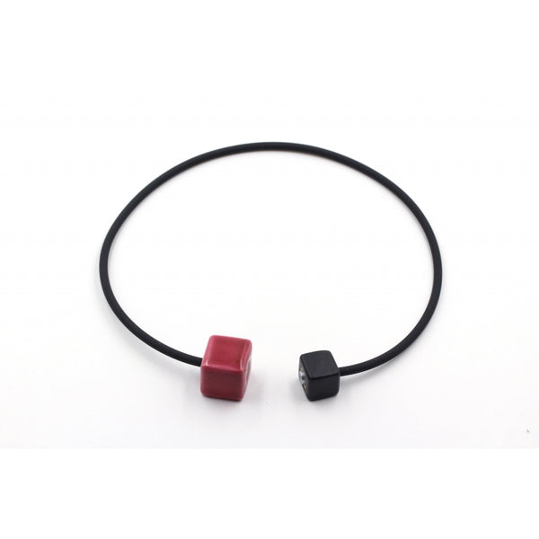 Raspberry & Black Cubic Ceramic Necklace - Zouf.biz