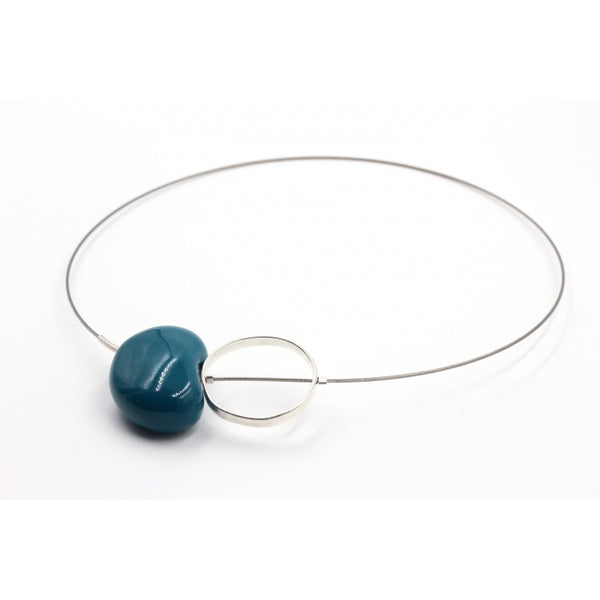 Duck Egg Blue Graphik Ceramic Necklace - Zouf.biz