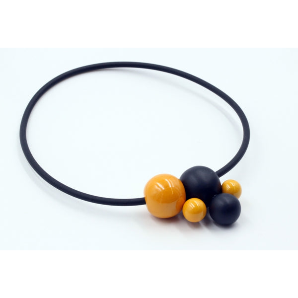 Apricot & Black Meteore Ceramic Necklace - Zouf.biz