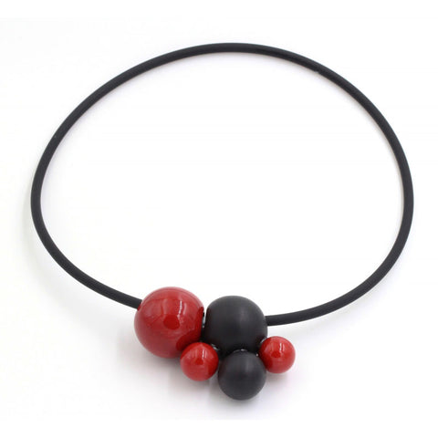 Cherry & Black Meteore Ceramic Necklace - Zouf.biz