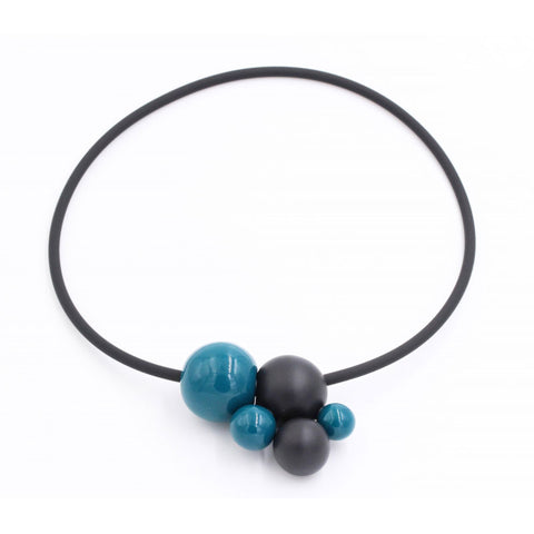 Duck Egg Blue & Black Meteore Ceramic Necklace