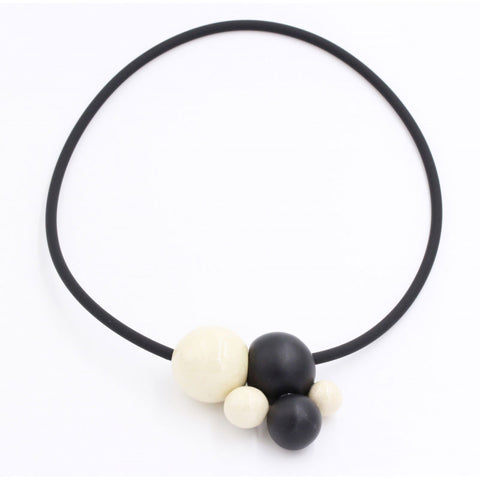 Ivory & Black Meteore Ceramic Necklace - Zouf.biz