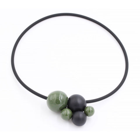 Khaki & Black Meteore Ceramic Necklace