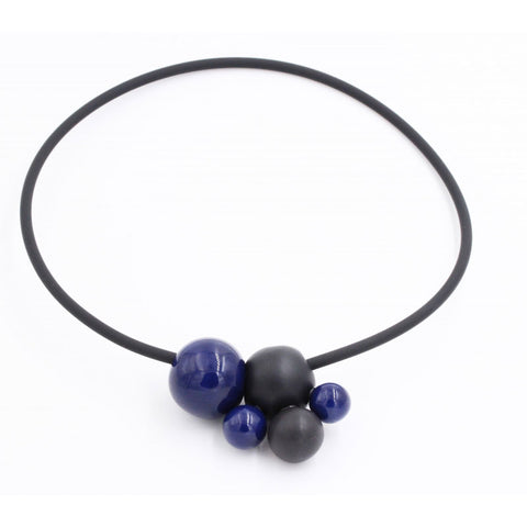 Midnight Blue & Black Meteore Ceramic Necklace