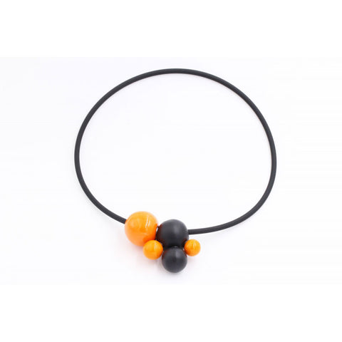 Orange & Black Meteore Ceramic Necklace - Zouf.biz