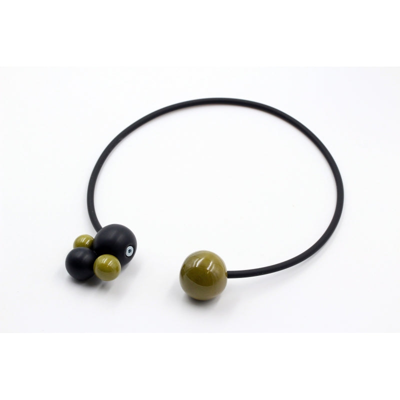 Pistachio & Black Meteore Ceramic Necklace - Zouf.biz