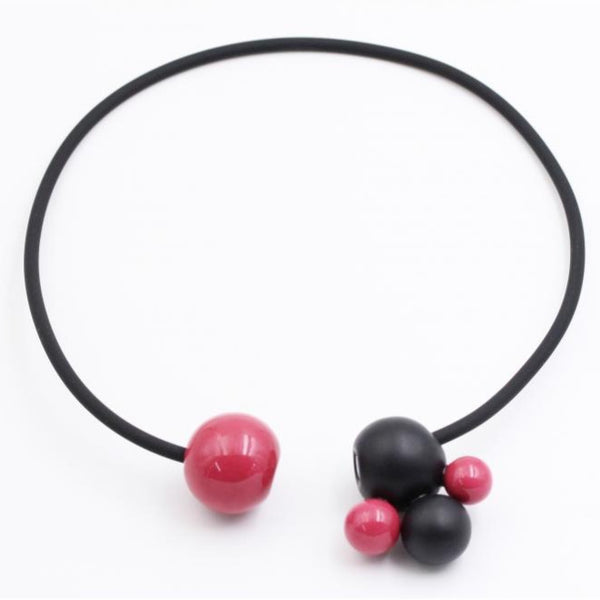 Raspberry & Black Meteore Ceramic Necklace - Zouf.biz
