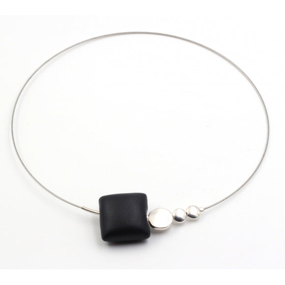 Black Mosaic Ceramic Necklace - Zouf.biz