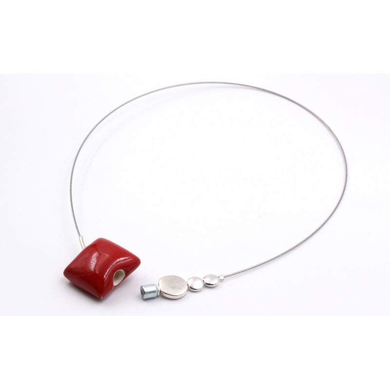 Cherry Mosaic Ceramic Necklace - Zouf.biz