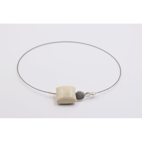 Ivory Mosaic Ceramic Necklace - Zouf.biz