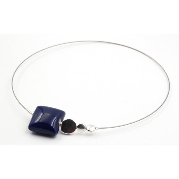 Midnight Blue Mosaic Ceramic Necklace - Zouf.biz
