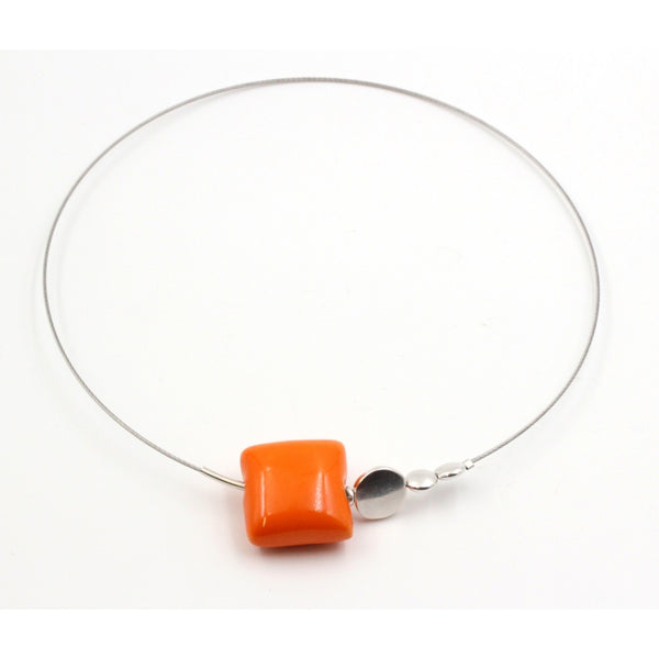 Orange Mosaic Ceramic Necklace - Zouf.biz