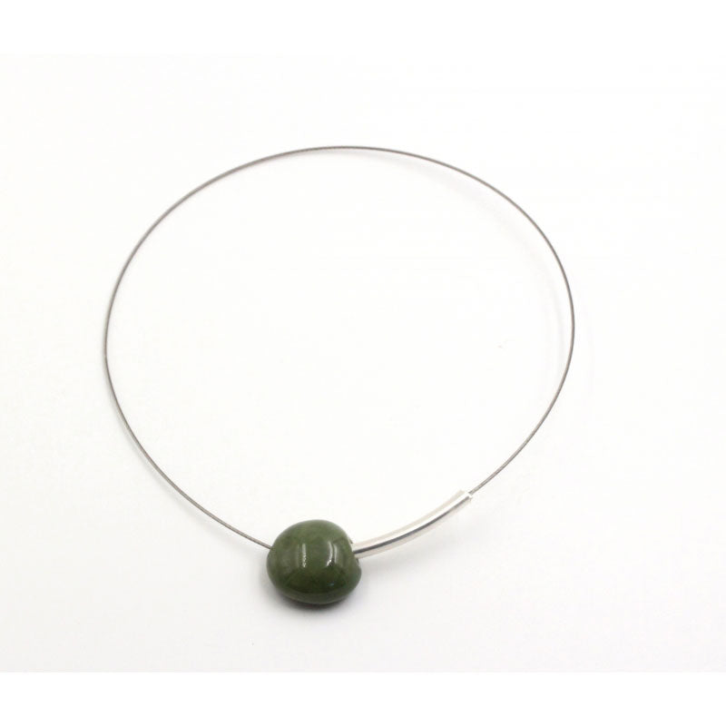 Khaki Sakura Ceramic Necklace - Zouf.biz