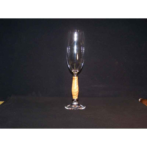 Crystal Champagne Flute on Olive Wood Base - Zouf.biz