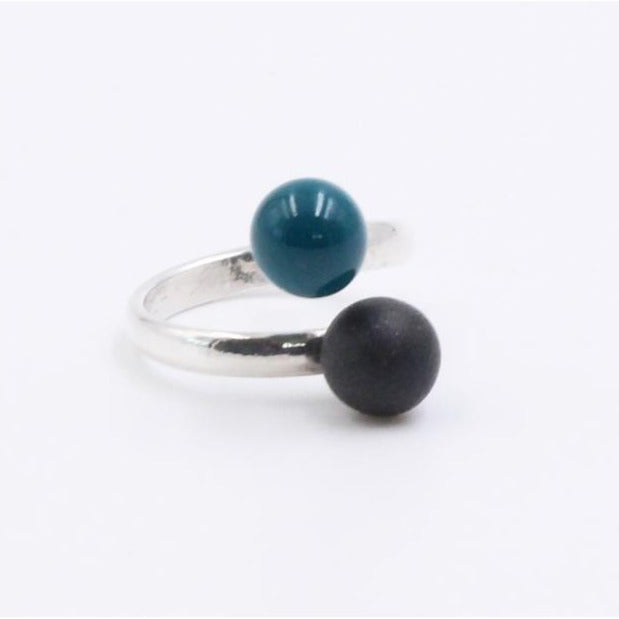 Duck Egg Blue & Black Duo Meteorite Ceramic Ring - Zouf.biz
