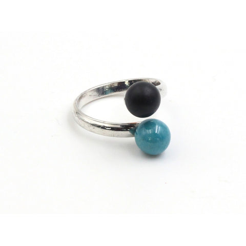 Turquoise & Black Duo Meteorite Ceramic Ring - Zouf.biz