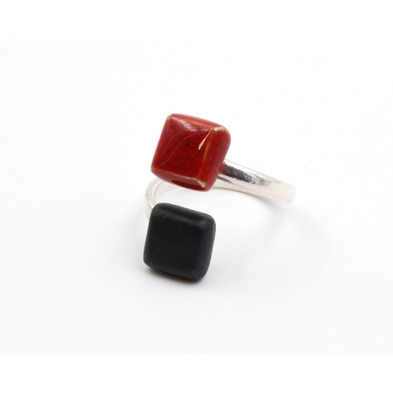 Cherry & Black Kub Ceramic Ring - Zouf.biz