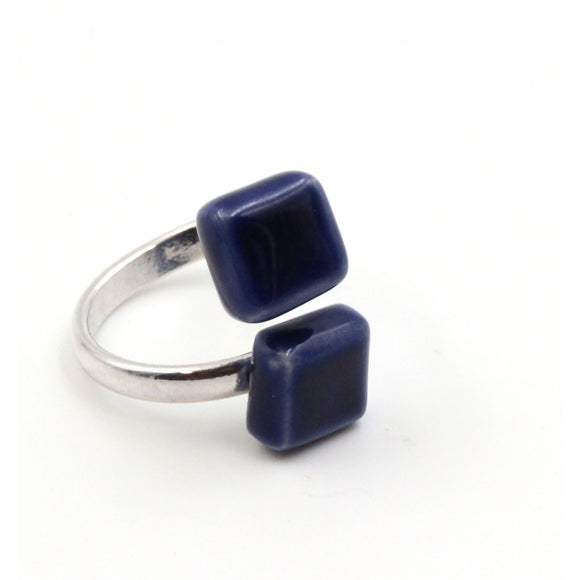 Midnight Blue Kub Ceramic Ring - Zouf.biz