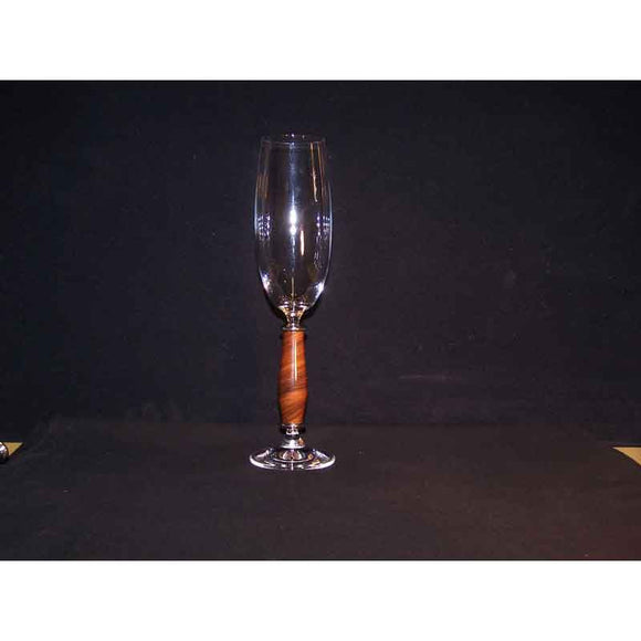 Crystal Champagne Flute on Santos Rosewood Base - Zouf.biz