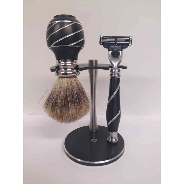Black Metal Razor & Shaving Brush Stand - Zouf.biz