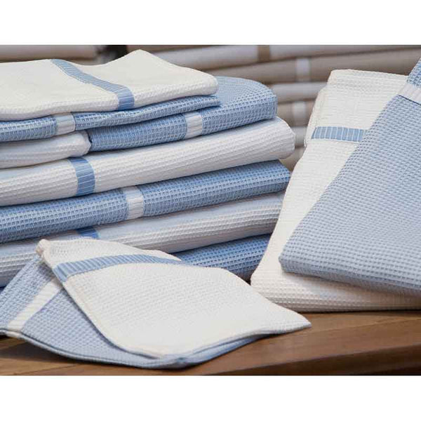 Finest Blue & White Honeycomb Bath Sheet - Zouf.biz