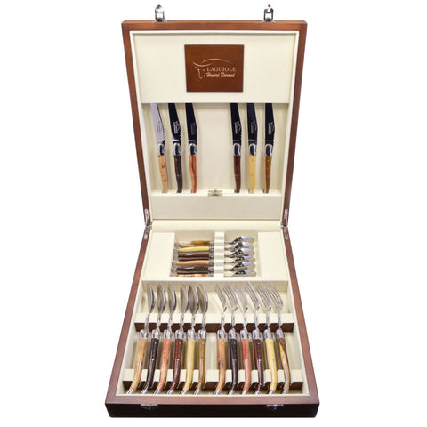 Laguiole Cutlery Canteen 24 Pieces Mixed Wood, Prestige Collection - Zouf.biz