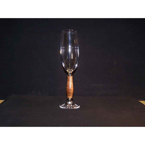 Crystal Champagne Flute on Walnut Wood Base - Zouf.biz